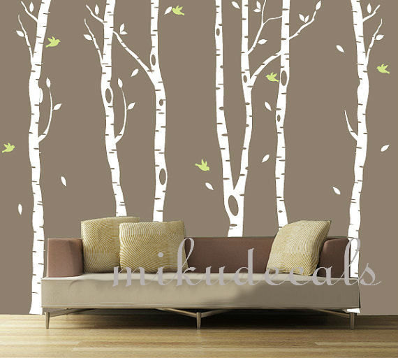 Vinyl Wall Decals White Tree Decal Nursery Six Birth Trees Birds Leaf Bird  Trees Home House Art Wall Sticker Stickers Baby Room Kid Kids