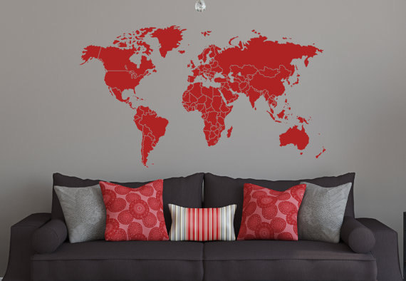 Vinyl Wall Decal W Large Size World Map Decals Countries - Vinyl wall decals borders